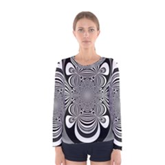 Black And White Ornamental Flower Women s Long Sleeve Tee