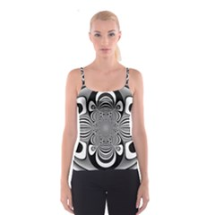 Black And White Ornamental Flower Spaghetti Strap Top