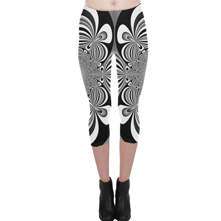 Black And White Ornamental Flower Capri Leggings