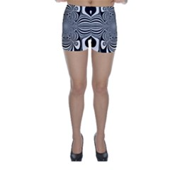 Black And White Ornamental Flower Skinny Shorts