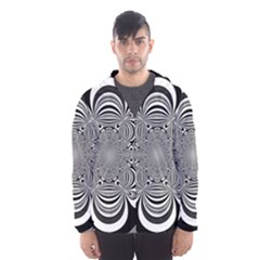 Black And White Ornamental Flower Hooded Wind Breaker (Men)