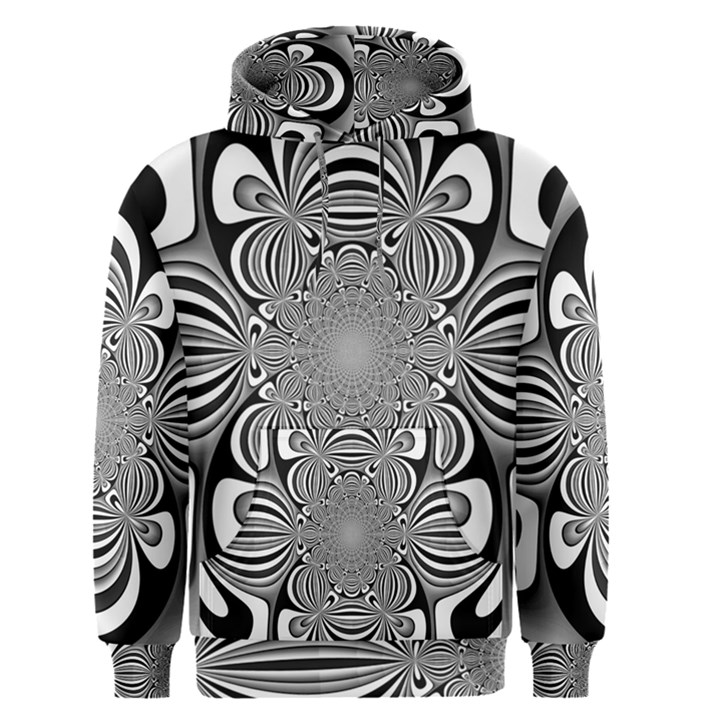 Black And White Ornamental Flower Men s Pullover Hoodie