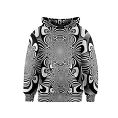Black And White Ornamental Flower Kids  Pullover Hoodie