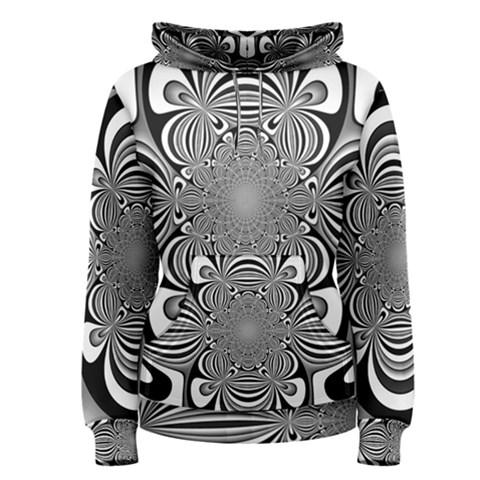 Black And White Ornamental Flower Women s Pullover Hoodie