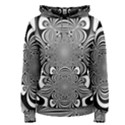 Black And White Ornamental Flower Women s Pullover Hoodie View1