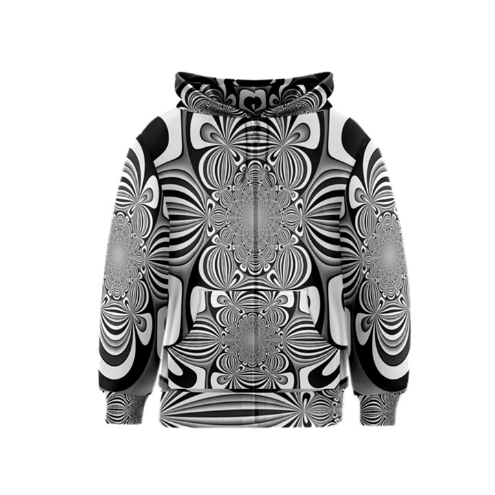 Black And White Ornamental Flower Kids  Zipper Hoodie