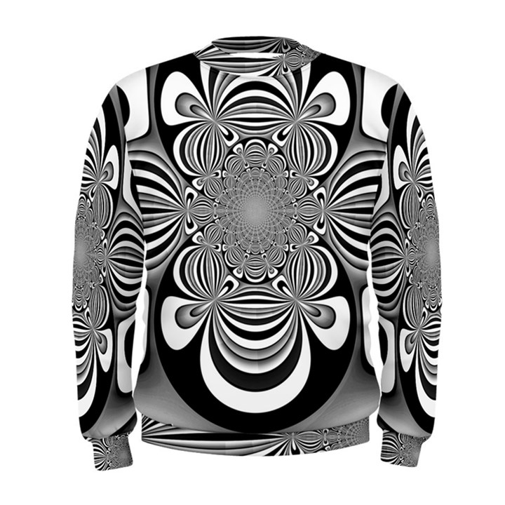 Black And White Ornamental Flower Men s Sweatshirt