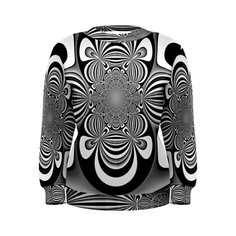 Black And White Ornamental Flower Women s Sweatshirt