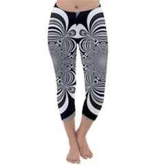 Black And White Ornamental Flower Capri Winter Leggings