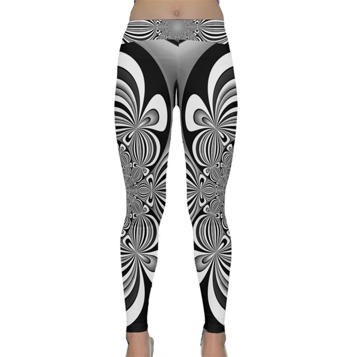 Black And White Ornamental Flower Yoga Leggings
