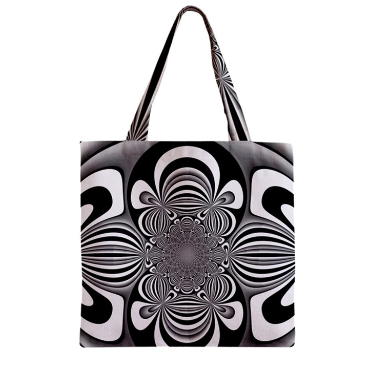 Black And White Ornamental Flower Zipper Grocery Tote Bag