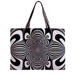 Black And White Ornamental Flower Zipper Mini Tote Bag