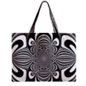 Black And White Ornamental Flower Zipper Mini Tote Bag View1