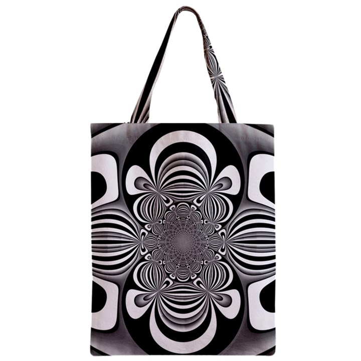 Black And White Ornamental Flower Zipper Classic Tote Bag
