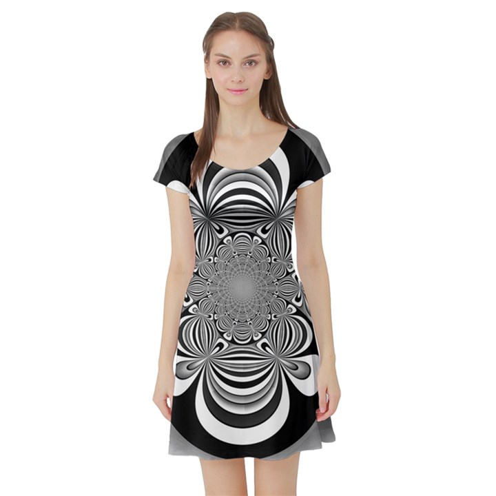 Black And White Ornamental Flower Short Sleeve Skater Dress