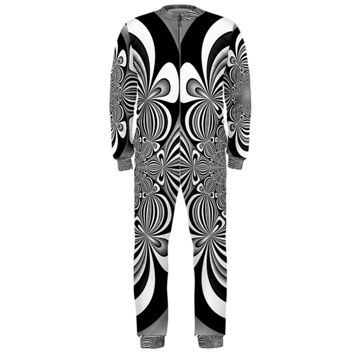 Black And White Ornamental Flower OnePiece Jumpsuit (Men)