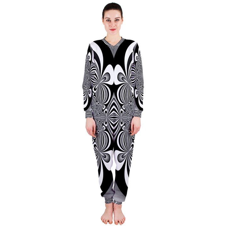 Black And White Ornamental Flower OnePiece Jumpsuit (Ladies)