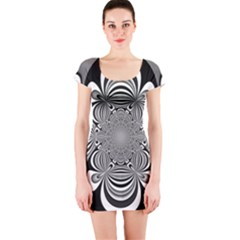 Black And White Ornamental Flower Short Sleeve Bodycon Dress