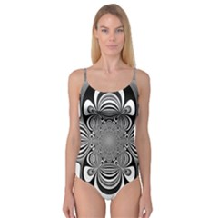 Black And White Ornamental Flower Camisole Leotard