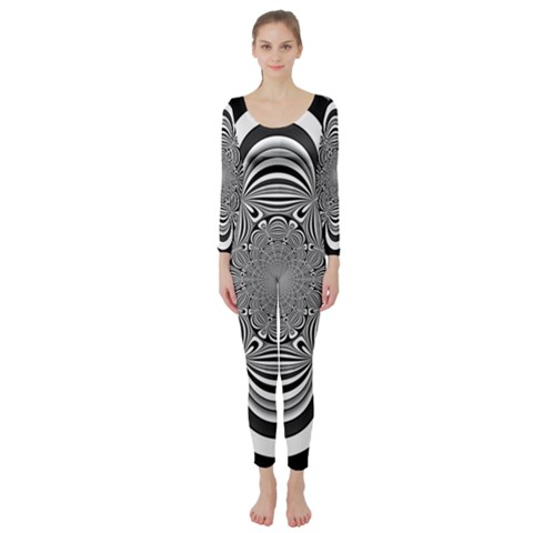 Black And White Ornamental Flower Long Sleeve Catsuit