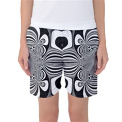 Black And White Ornamental Flower Women s Basketball Shorts