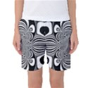 Black And White Ornamental Flower Women s Basketball Shorts View1