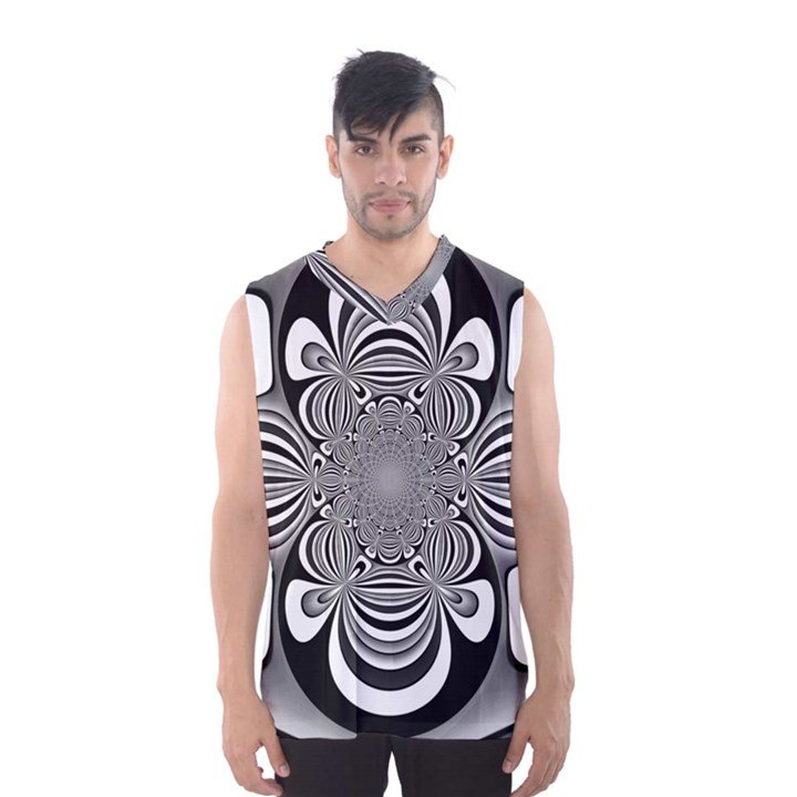 Black And White Ornamental Flower Men s Basketball Tank Top
