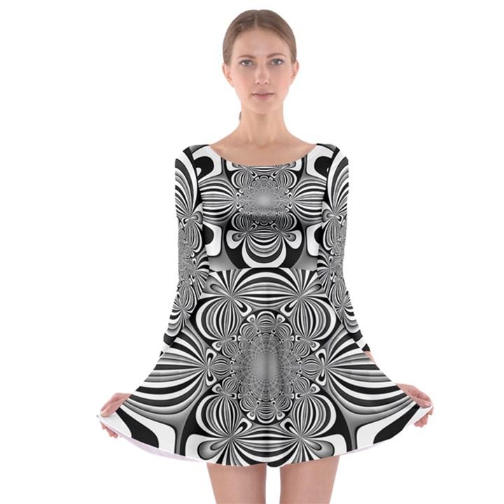 Black And White Ornamental Flower Long Sleeve Skater Dress