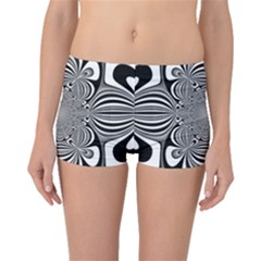 Black And White Ornamental Flower Boyleg Bikini Bottoms