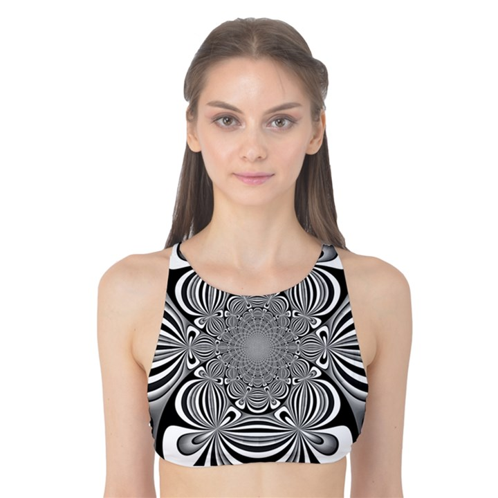 Black And White Ornamental Flower Tank Bikini Top
