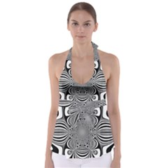 Black And White Ornamental Flower Babydoll Tankini Top