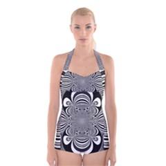 Black And White Ornamental Flower Boyleg Halter Swimsuit