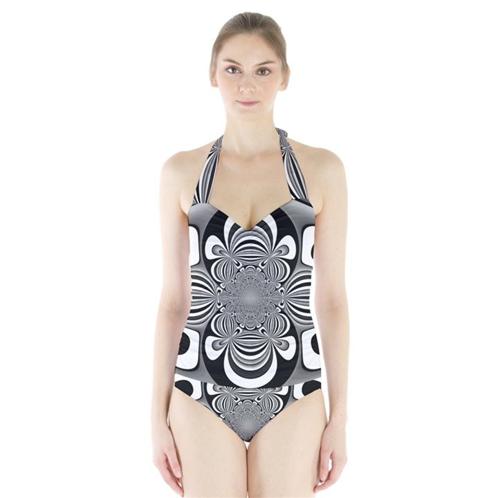 Black And White Ornamental Flower Halter Swimsuit