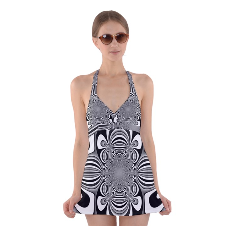 Black And White Ornamental Flower Halter Swimsuit Dress