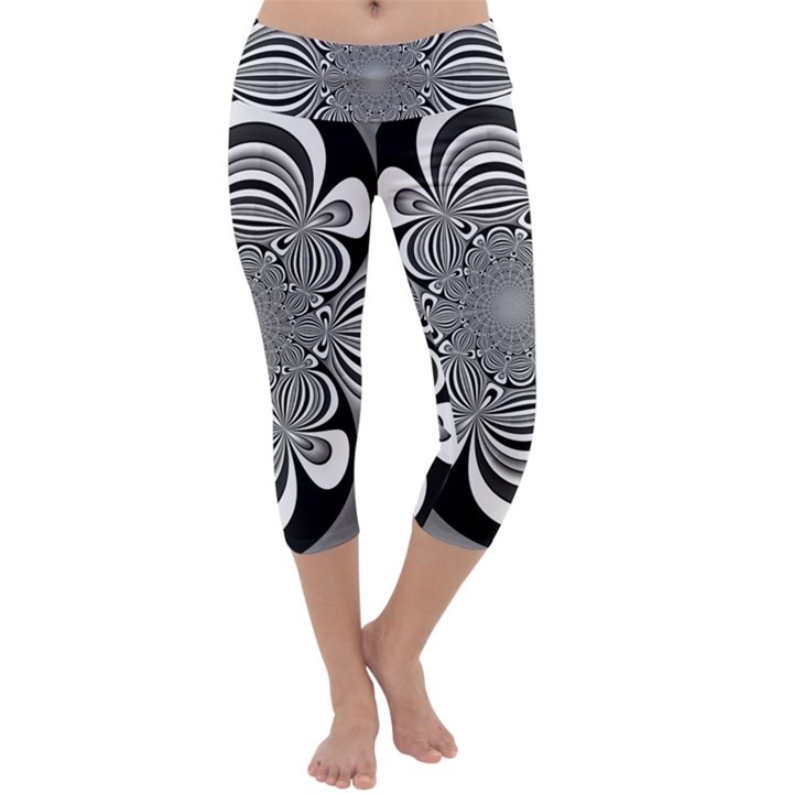 Black And White Ornamental Flower Capri Yoga Leggings