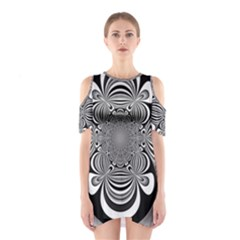 Black And White Ornamental Flower Cutout Shoulder Dress