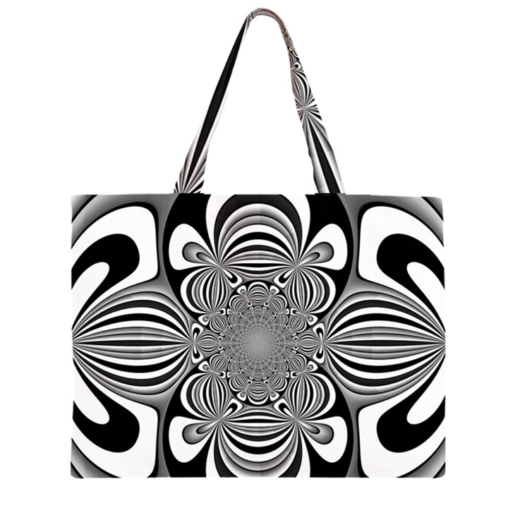 Black And White Ornamental Flower Large Tote Bag