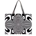 Black And White Ornamental Flower Large Tote Bag View2