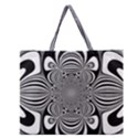 Black And White Ornamental Flower Zipper Large Tote Bag View1