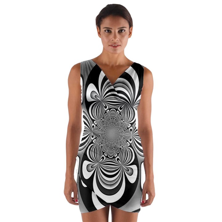 Black And White Ornamental Flower Wrap Front Bodycon Dress