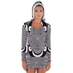 Black And White Ornamental Flower Women s Long Sleeve Hooded T-shirt