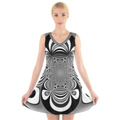 Black And White Ornamental Flower V Neck Sleeveless Skater Dress