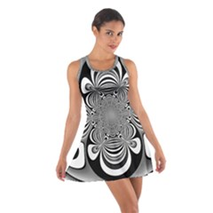 Black And White Ornamental Flower Cotton Racerback Dress
