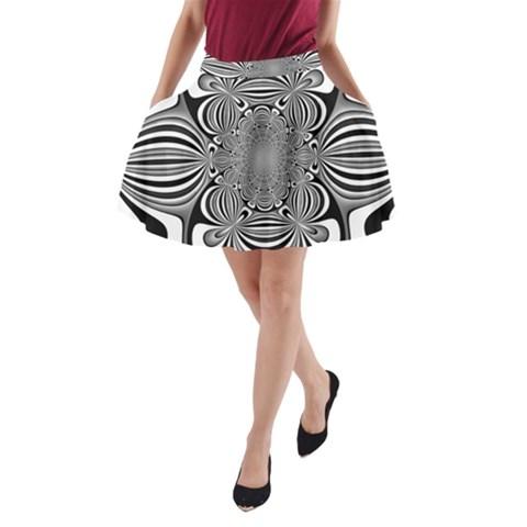 Black And White Ornamental Flower A-Line Pocket Skirt
