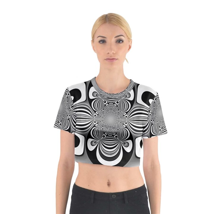 Black And White Ornamental Flower Cotton Crop Top