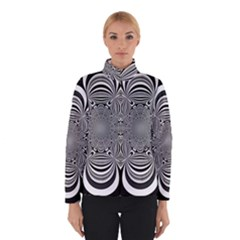 Black And White Ornamental Flower Winterwear