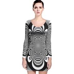 Black And White Ornamental Flower Long Sleeve Velvet Bodycon Dress
