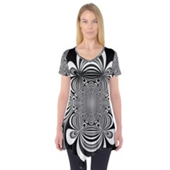 Black And White Ornamental Flower Short Sleeve Tunic