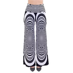 Black And White Ornamental Flower Pants
