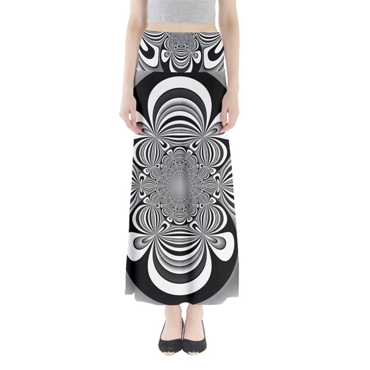 Black And White Ornamental Flower Maxi Skirts
